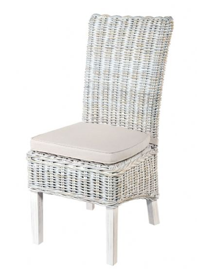 Atlantic White Wash Rattan Dining Chairs - Pair - Special Order
